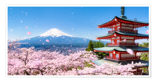 Poster Chureito pagoda with Mount Fuji in Fujiyoshida, Japan