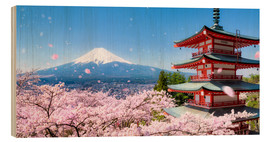 Wood print  Chureito pagoda with Mount Fuji in Fujiyoshida, Japan - Jan Christopher Becke