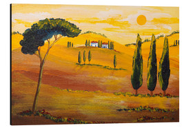 Alu-Dibond  Sunshine in Tuscany in the Morning - Christine Huwer