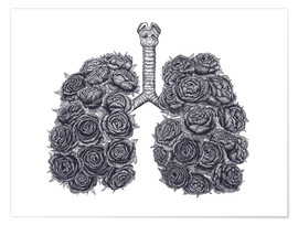 Premium poster Lungs with peonies
