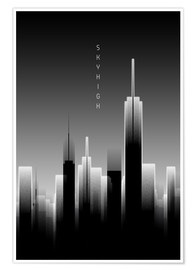 Premium poster Graphic Art SKYHIGH Lights black and white