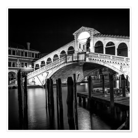 Premium poster VENICE Rialto Bridge at Night