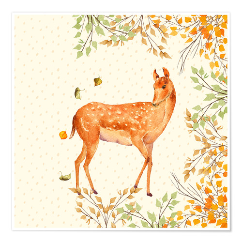 Premium poster Magical Deer in Forest