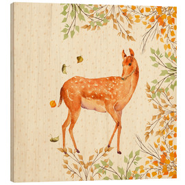 Wood print  Magical Deer in Forest - UtArt