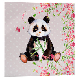 Acrylic print  Little panda bear with bamboo and cherry blossoms - UtArt