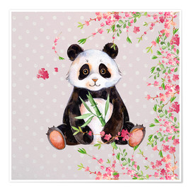 Premium poster Little panda bear with bamboo and cherry blossoms