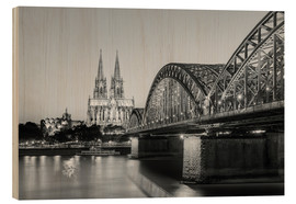 Wood print  Cologne at night, black and white - Michael Valjak