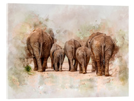 Acrylic glass  Elephants in the savannah in Africa - Peter Roder