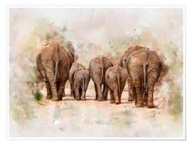 Premium poster  Elephants in the savannah in Africa - Peter Roder