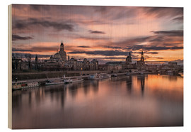 Wood print  sunset Dresden - Achim Thomae