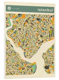 Foam board print  Istanbul Map - Jazzberry Blue