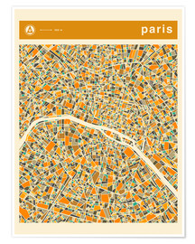 Premium poster  Paris Map - Jazzberry Blue