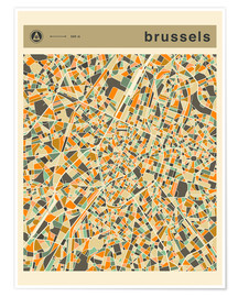 Premium poster  BRUSSELS MAP - Jazzberry Blue