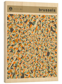 Wood print  BRUSSELS MAP - Jazzberry Blue