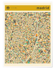 Premium poster  Madrid map - Jazzberry Blue