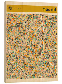 Wood print  Madrid map - Jazzberry Blue