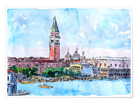 Premium poster Venice Serenissima with St. Marks Bell Tower and Doge Palace