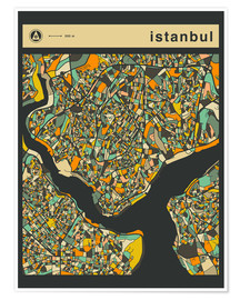 Poster  ISTANBUL MAP - Jazzberry Blue