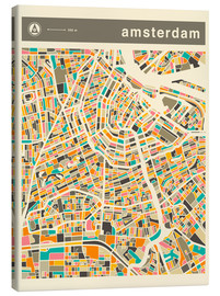 Canvas print  AMSTERDAM MAP - Jazzberry Blue