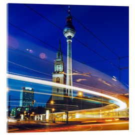 Acrylic print  Berlin - TV Tower / Light Trails - Alexander Voss