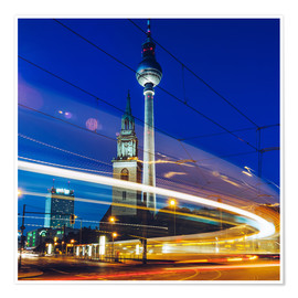 Premium poster Berlin - TV Tower / Light Trails
