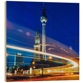 Wood print  Berlin - TV Tower / Light Trails - Alexander Voss