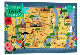 Acrylic print  Colorful city map Lübeck - Elisandra Sevenstar
