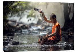 Canvas print  Monk washing dishes