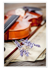 Premium poster Vintage composition with violin and lavender