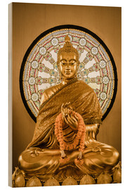 Wood print  Buddha statue and Wheel of life background