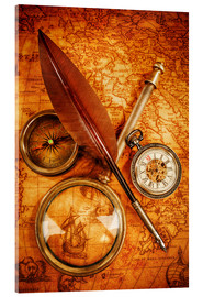 Acrylic print  Compass and Clock