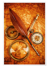 Premium poster  Compass and Clock