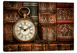 Canvas  Clock in front of books