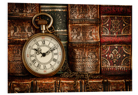 Forex  Clock in front of books
