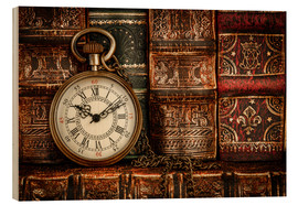 Wood print  Clock in front of books