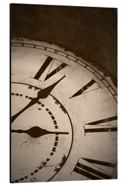 Aluminium print  picture of an old vintage clock