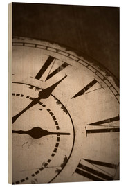 Wood  picture of an old vintage clock