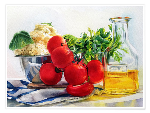 Premium poster tomatoes and olive oil