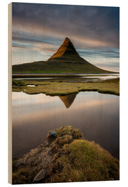 Wood print  Peaceful Sunset Kirkjufell - Sander Grefte