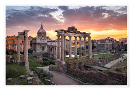 Premium poster Dramatic sunrise at the Roman Forum in Rome, Italy