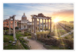 Premium poster  Sunset at the Roman Forum in Rome, Italy - Jan Christopher Becke