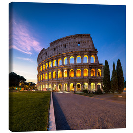 Canvas  The Colosseum at night in Rome, Italy - Jan Christopher Becke