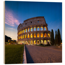 Wood print  The Colosseum at night in Rome, Italy - Jan Christopher Becke