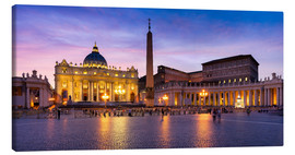 Canvas print  St. Peter's Square and St. Peter's Basilica at night, Rome, Italy - Jan Christopher Becke