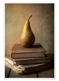 Premium poster Still life with pile of book and pear
