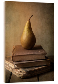 Wood  Still life with pile of book and pear - Jaroslaw Blaminsky