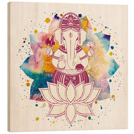 Wood print  Ganesha in watercolors