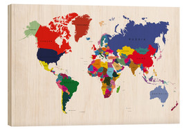 Wood print  World Atlas