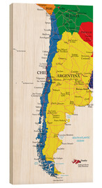 Wood print  Chile and Argentina