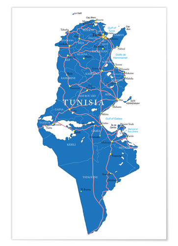 Premium poster Map Tunisia